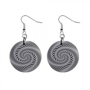 """New Hypnotic Black and White Swirl Design 1"""" Round Button Dangle Earrings Jewelry 13100565"""