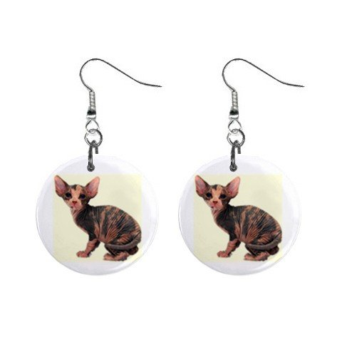 "New Hairless Cat Sphynx 1"" Round Button Dangle Earrings Jewelry 13081445"