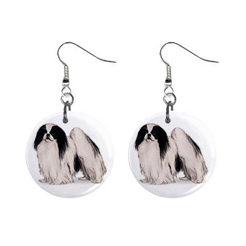 """New Dog Japenses Chin 1"""" Round Button Dangle Earrings Jewelry 13018528"""
