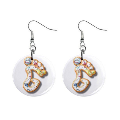 """Barefoot Design Monogram Initial 1"""" Round Button Dangle Earrings Jewelry"""