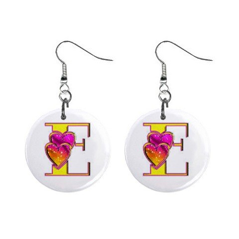 """2 Hearts Design Monogram Initial 1"""" Round Button Dangle Earrings Jewelry"""