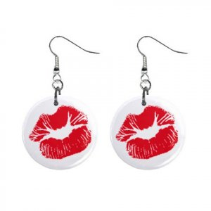 "New Red Kiss Lips Dangle 1"" Button Round Earrings Jewelry 13483358"
