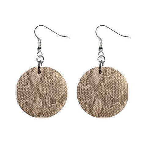 """New Snakeskin Snake Skin Pattern Dangle 1"""" Button Round Earrings Jewelry 13248205"""