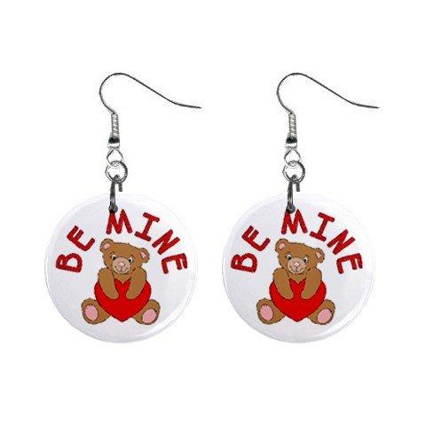 New Be Mine Teddy Bear Valentine Dangle Button Earrings Jewelry 13479475