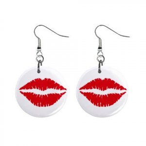 New Red Lips Valentine Dangle Button Earrings Jewelry 13483359