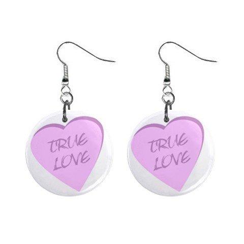 New Pink True Love Heart Valentine Dangle Button Earrings Jewelry 13483314