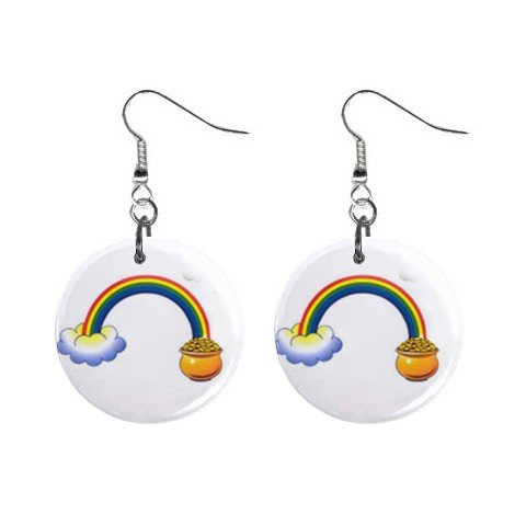 St. Patrick Day  Rainbow Pot of Gold Button Earrings Jewelry 13501036