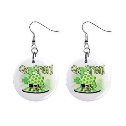 Go Green St. Paddy Patrick Day  Dangle Button Earrings Jewelry  13501041