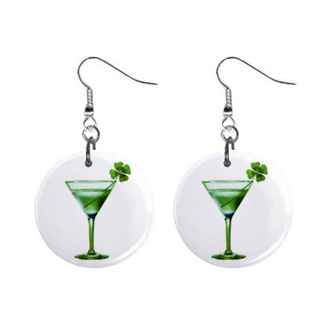 Clover Martini St. Paddy Patrick Day  Dangle Button Earrings Jewelry 13501042