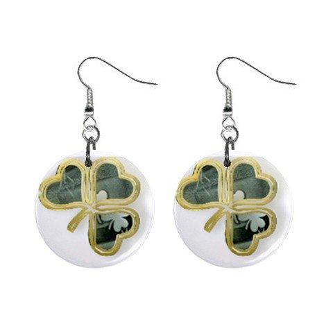Fancy 3 Leaf Clover St. Paddy Patrick Day  Dangle Button Earrings Jewelry 13501047