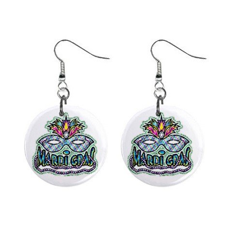 "MARDI GRAS Mask 1"" Round Dangle Button Earrings NEW 13534594"