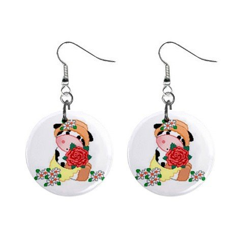 Cow with Flowers Dangle Button Earrings Jewelry 1 inch Round 13688961