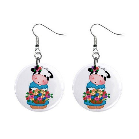 Cow with Basket of Flowers Dangle Button Earrings Jewelry 1 inch Round 13688965
