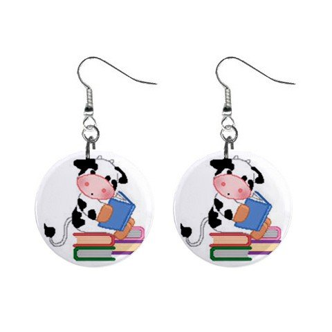 Book Reading Cow Dangle Button Earrings Jewelry 1 inch Round 13688966
