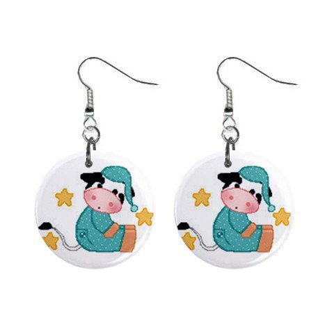 Good Night Cow Dangle Button Earrings Jewelry 1 inch Round 13688969