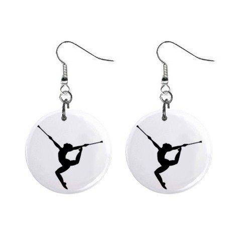 Baton Twirl Twirling Twirler Dangle Button Earrings Jewelry 14000998