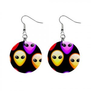 Alien Faces Hanging Dangle Button Earrings Jewelry 14000951