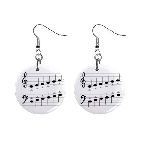 New Musical Note Scale Dangle Button Earrings Jewelry 13690086