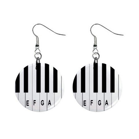 New Piano Keyboard Music Notes Dangle Button Earrings Jewelry 13690079