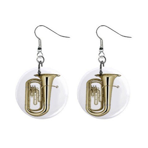 New Tuba Band Round Button Earrings Dangle Jewelry 13164156