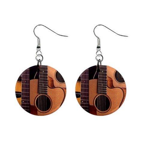 "New Guitar Dangle 1"" Button Earrings Jewelry 13717676"