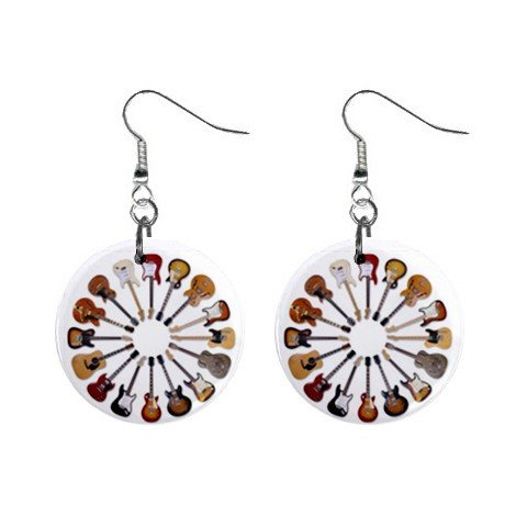 New Circle of Guitars Dangle Button Earrings Jewelry 13717622