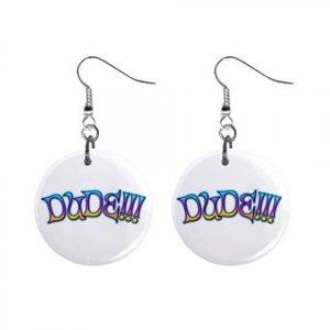 New DUDE!!! Dangle Button Earrings Jewelry 13631424