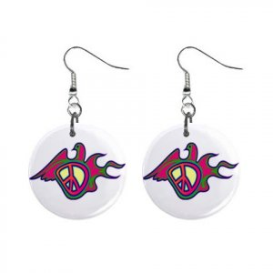 New Retro Hippie Peace Sign Bird Dangle Button Earrings Jewelry 13634097