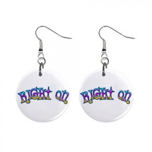 New RIGHT ON Retro Hippie Dangle Button Earrings Jewelry 13634111