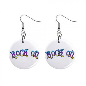 New ROCK ON Retro Hippie Dangle Button Earrings Jewelry 13634112