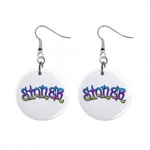 New Stoner Retro Hippie Dangle Button Earrings Jewelry 13634113