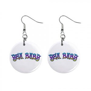 New YEA BABY Retro Hippie Dangle Button Earrings Jewelry 13634166