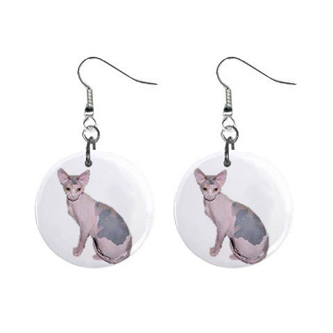 "Sitting Hairless Cat Sphynx 1"" Round Button Dangle Earrings Jewelry 13894583"