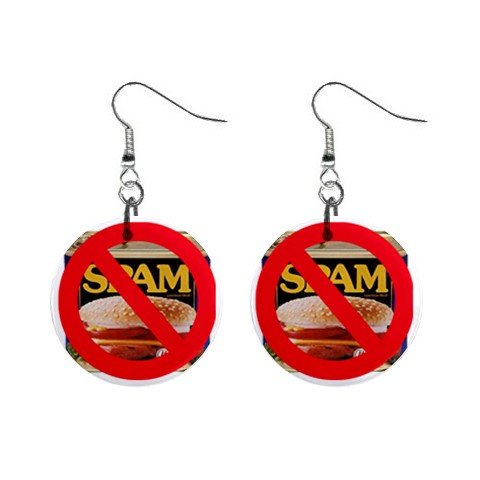 NO SPAM Can of Spam Dangle Earrings Jewelry 1 inch Buttons 13894582