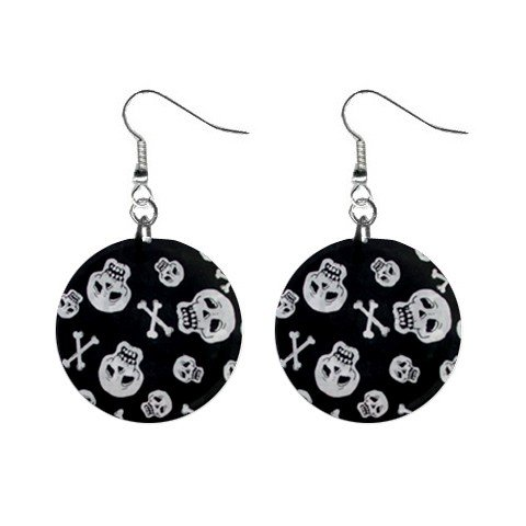 New Skull and Crossbones Goth Round Button Dangle Earrings Jewelry 13894590