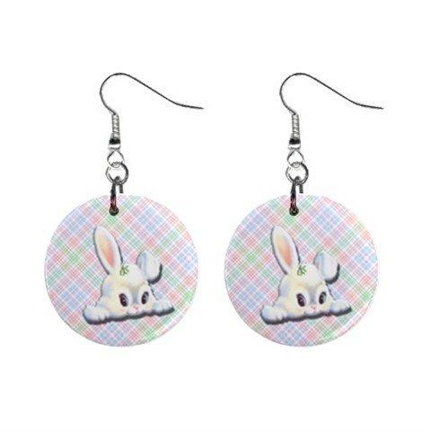 Peeking Bunny Easter Dangle Button Earrings Jewelry 1 inch Round 13969777