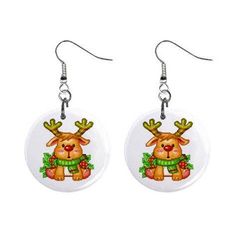 Cute Reindeer Christmas Dangle Earrings Jewelry 1 inch Buttons 12977599