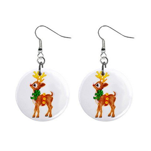 Standing Reindeer Christmas Dangle Earrings Jewelry 1 inch Buttons 12977639