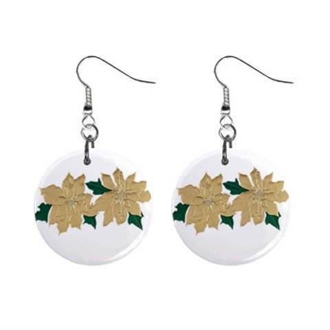Foiled Pointsetta Christmas Dangle Earrings Jewelry 1 inch Buttons 13092651