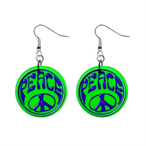 Green & Blue Peace Sign Dangle Button Earrings Jewelry 1 inch Round 14881813