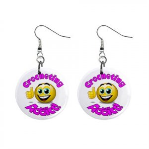 Crochet Addict Novelty Dangle Button Earrings Jewelry 1 inch Round 14006620