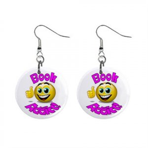 Book Addict Novelty Dangle Button Earrings Jewelry 1 inch Round 14006622