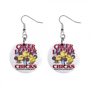 Cheerleader Chick Dangle Earrings Jewelry 1 inch Buttons 13019662