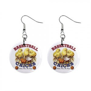 Basketball Chick Dangle Earrings Jewelry 1 inch Buttons 13019495