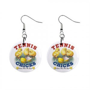 Tennis Chick Dangle Earrings Jewelry 1 inch Buttons 13020701
