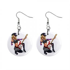 Singing Cowgirl Dangle Earrings Jewelry 1 inch Buttons 16546627