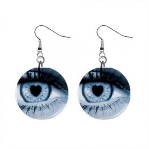 Heart Eyes Dangle Button Earrings Jewelry 1 inch Round 12477772