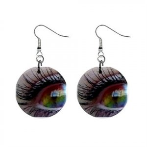 Rainbow Eyes Dangle Button Earrings Jewelry 1 inch Round 12477773