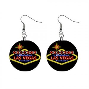 Las Vegas Sign Dangle Button Earrings Jewelry 1 inch Round 12708288