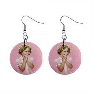 Shirley Temple Dangle Button Earrings Jewelry 1 inch Round 12709755
